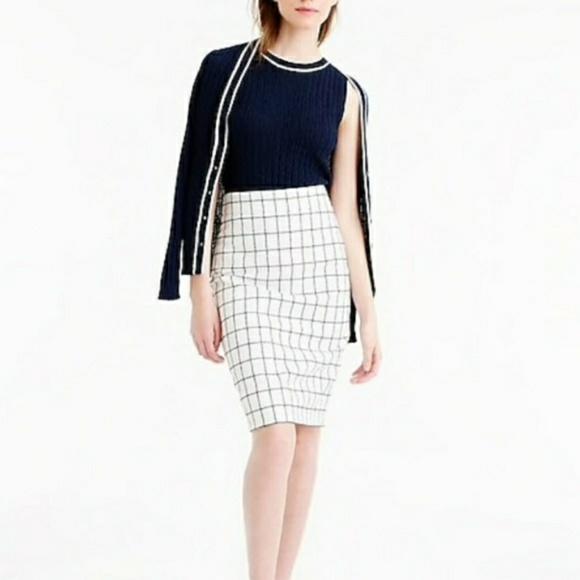 J. Crew Dresses & Skirts - J Crew White and Navy Windowpane Pencil Skirt